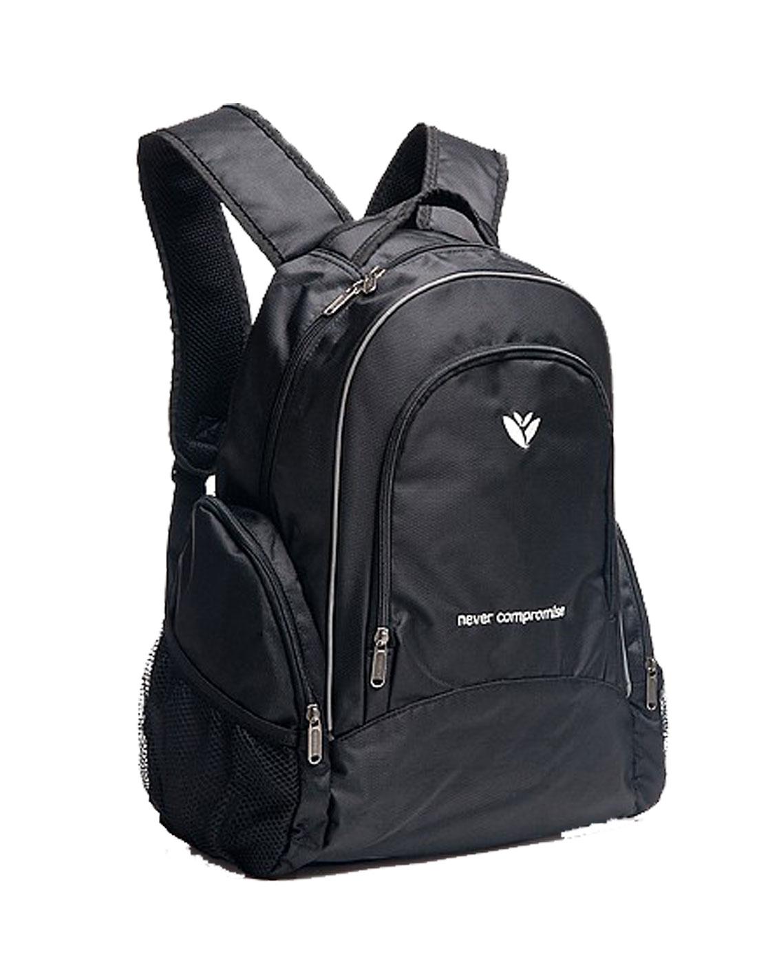 黑色布纹休闲双肩背包图片