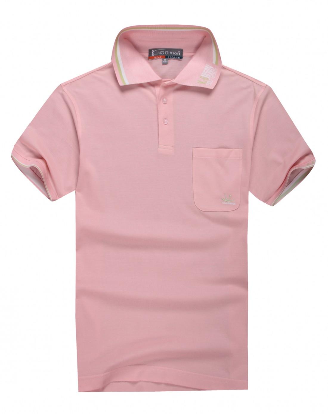 男款粉红色高尔夫球运动短袖polo衫