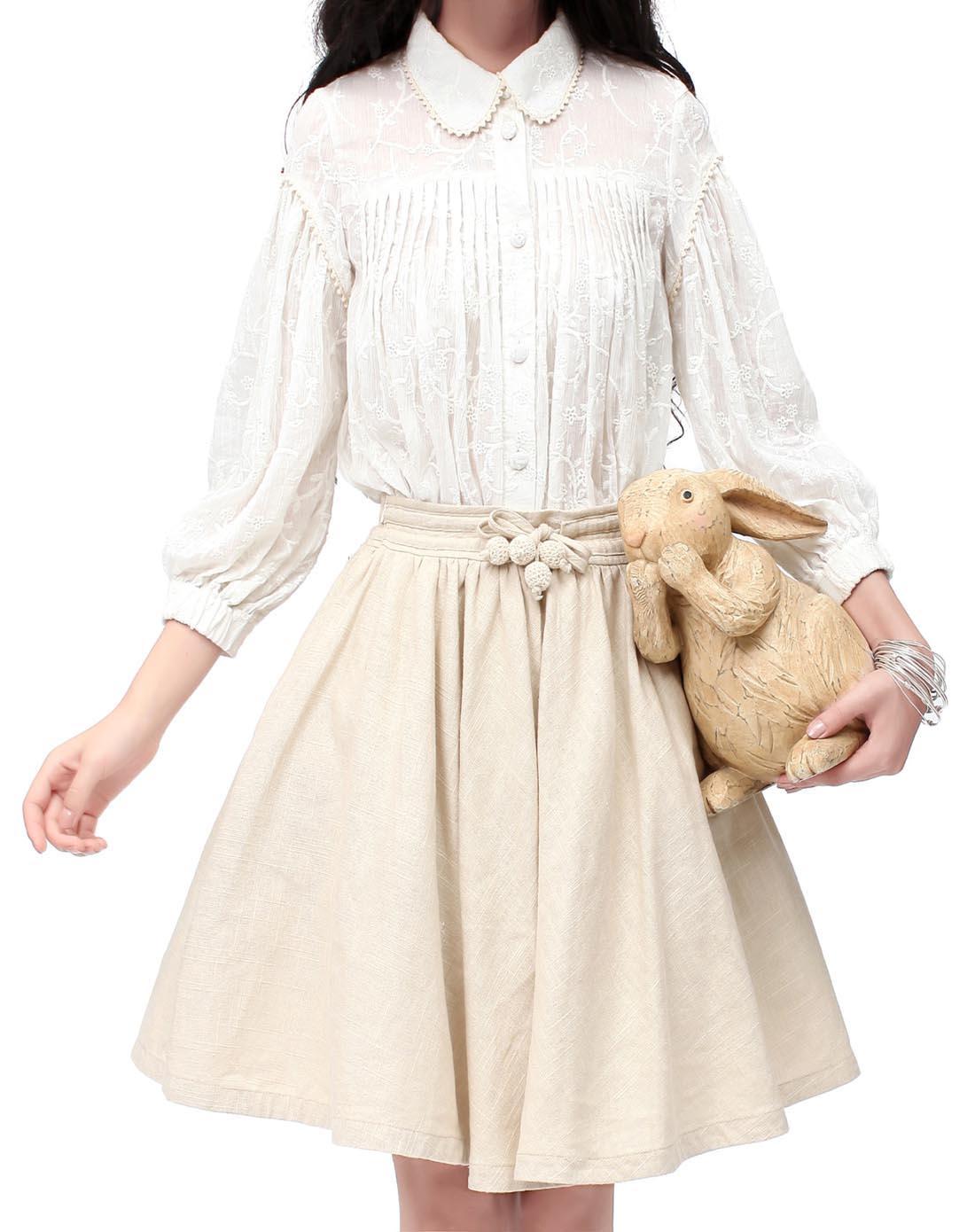 欧式复古风琴褶唯美绣花全棉衬衫