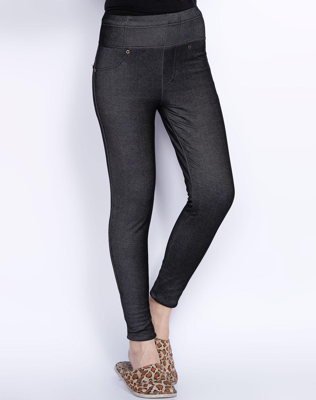 爱帝 黑色厚针织牛仔裤