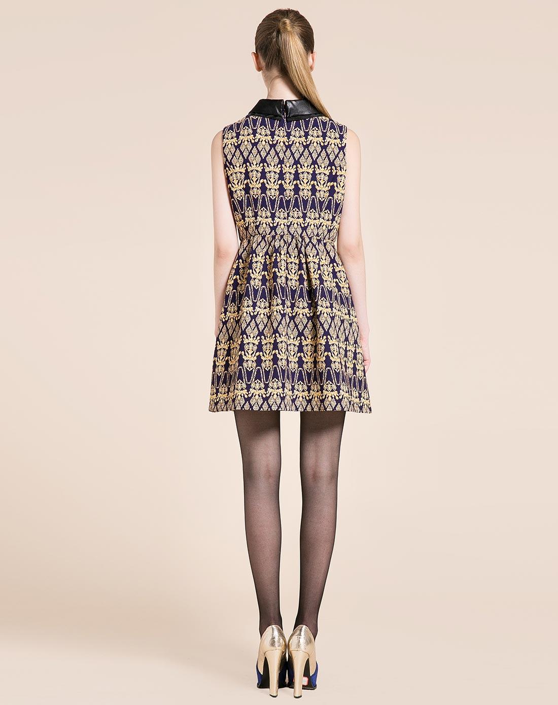 蓝色倾情lesies紫色复古花纹连衣裙礼服裙ls51370874