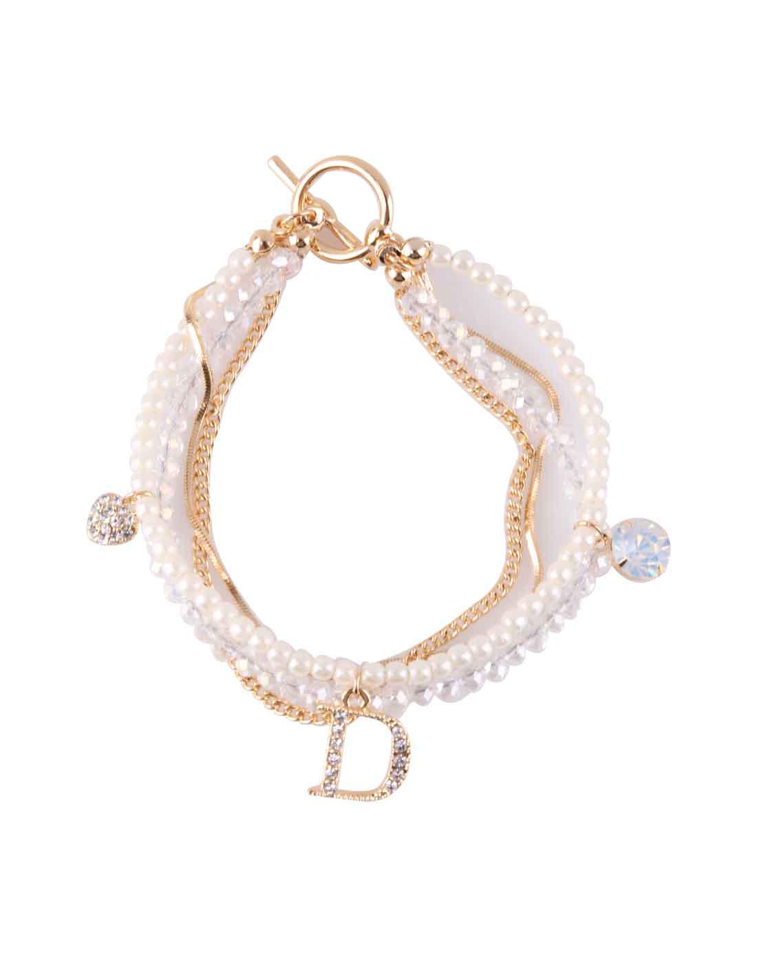金色心锁珍珠水晶手链