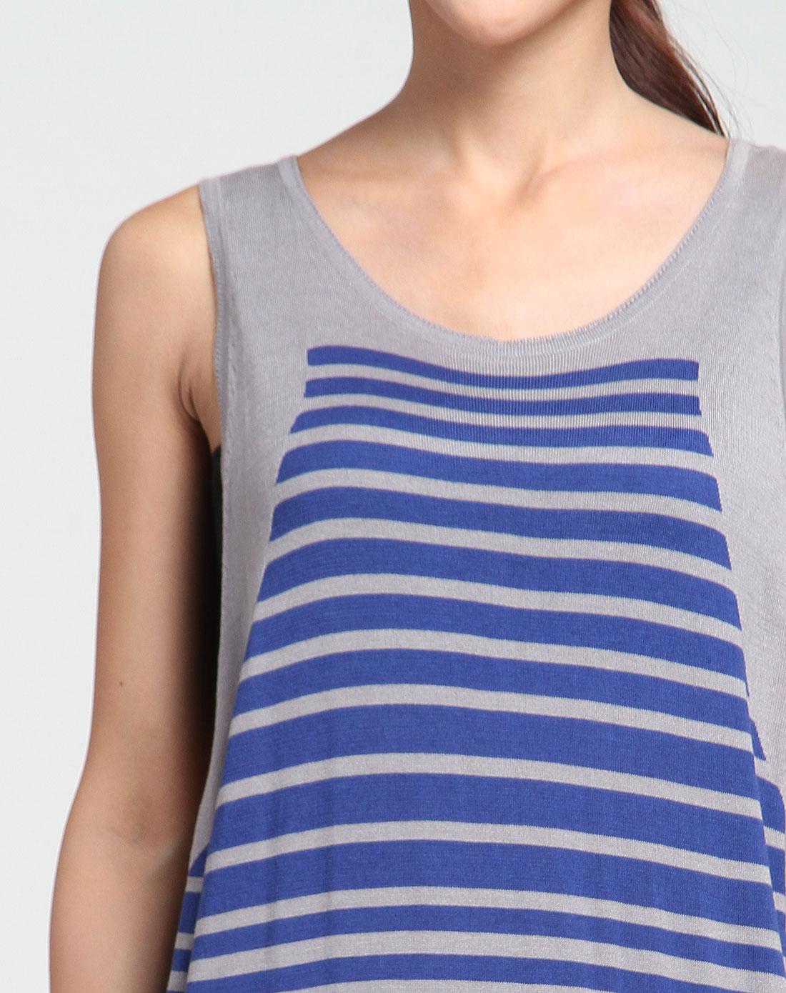 条纹灰蓝色长款针织背心
