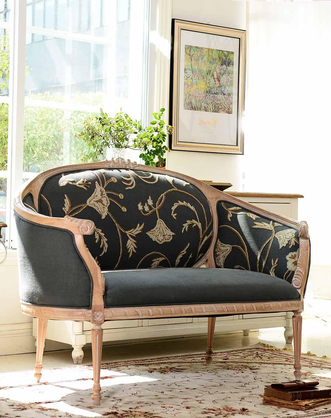 法式新古典欧洲进口白榉木家具 蓝灰色提花布艺双人沙发