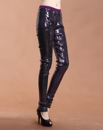 珠片镶拼深紫色长裤