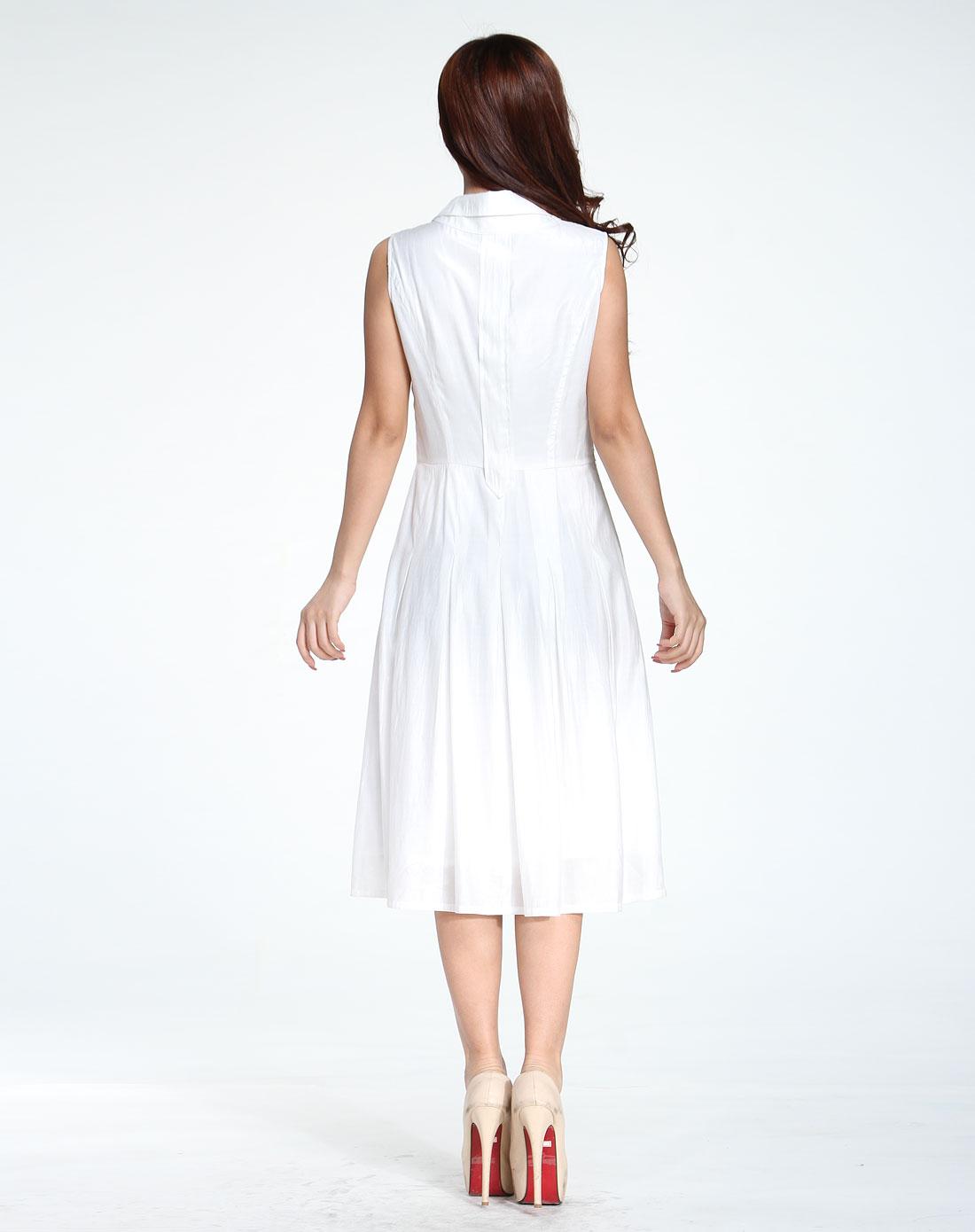 简约清新白色纯色无袖连衣裙