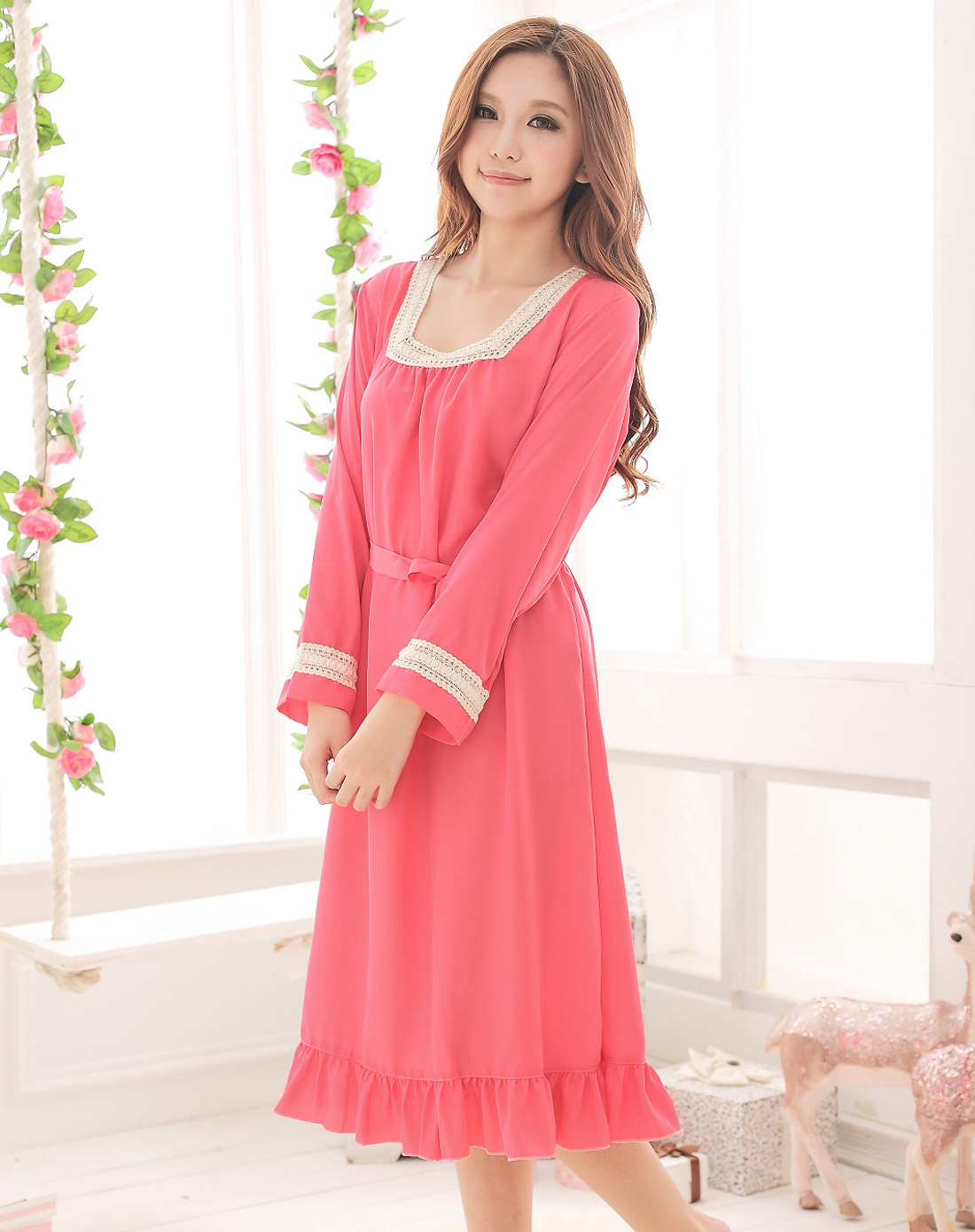 清新西瓜红花边长裙睡衣