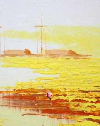 手绘油画-金色荷塘