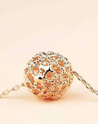 镂空彩金花球项链
