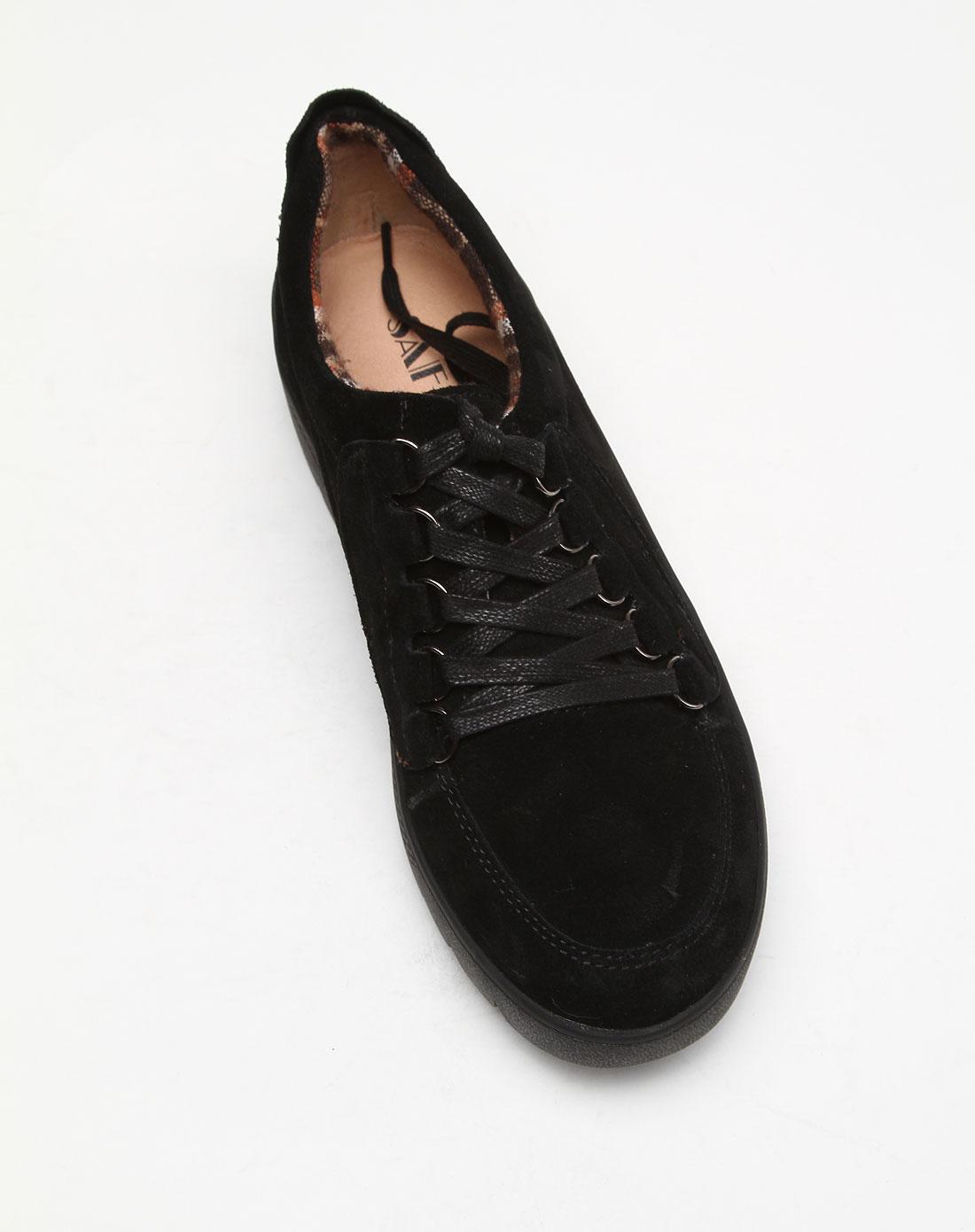 黑色系带个性平底深口单鞋