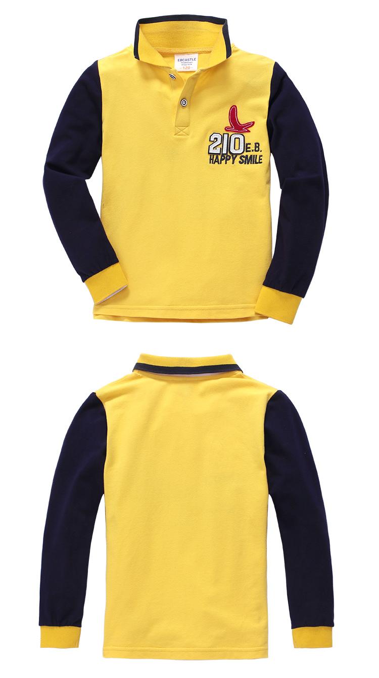 男童黄色长袖polo衫