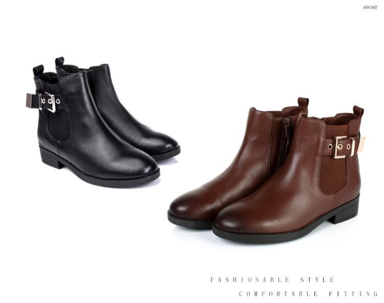 森达senda女鞋专场 森达冬季专柜同款时尚牛皮方跟女短靴棕色图片
