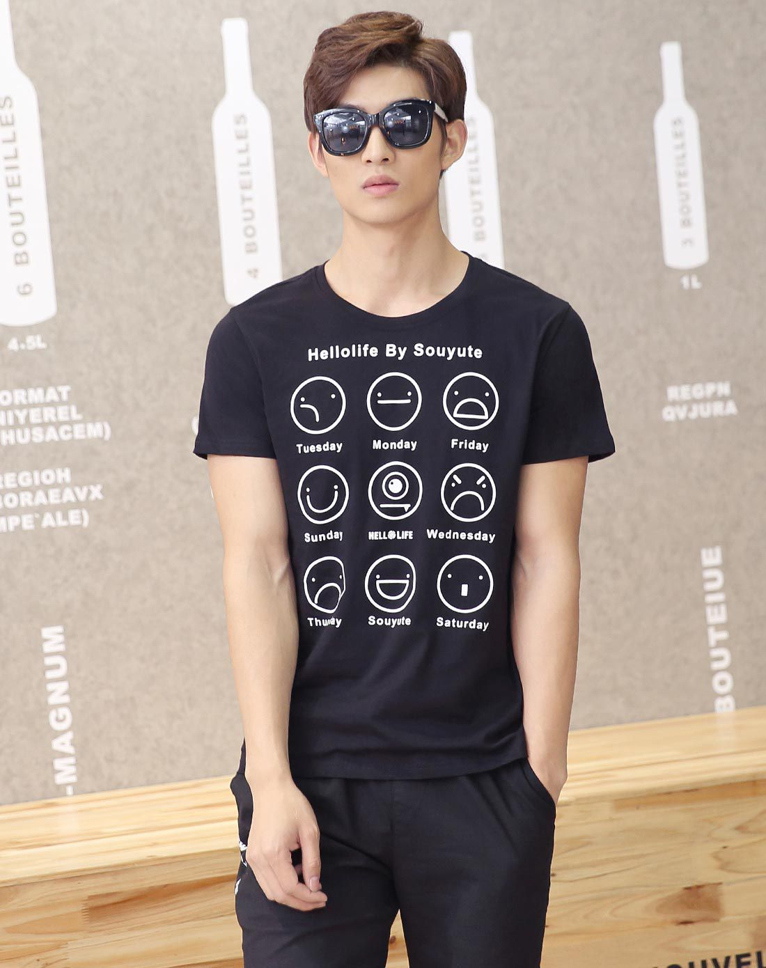 潮流前线男男款黑色萌趣表情包印花t恤h6ip2a97n01