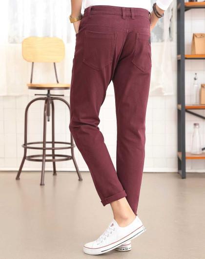 酒红休闲裤