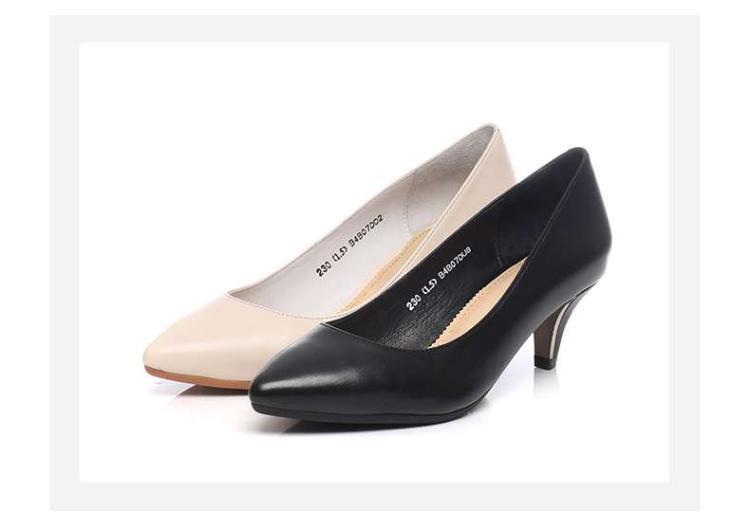 森达senda女鞋专场 森达2017春季专柜同款时尚牛皮细跟女浅口高跟鞋图片