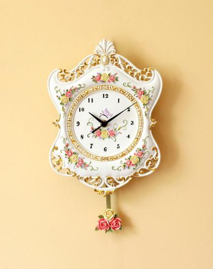 纯美欧式浮雕玫瑰挂钟