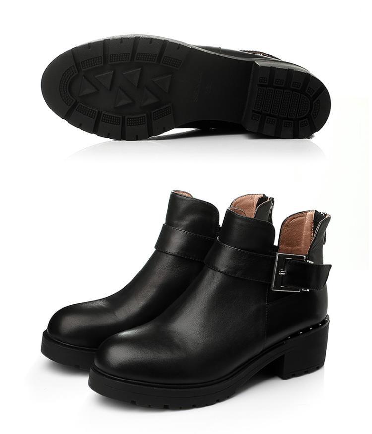 森达senda女鞋专场 森达冬季时尚牛皮/布面粗跟女短靴图片