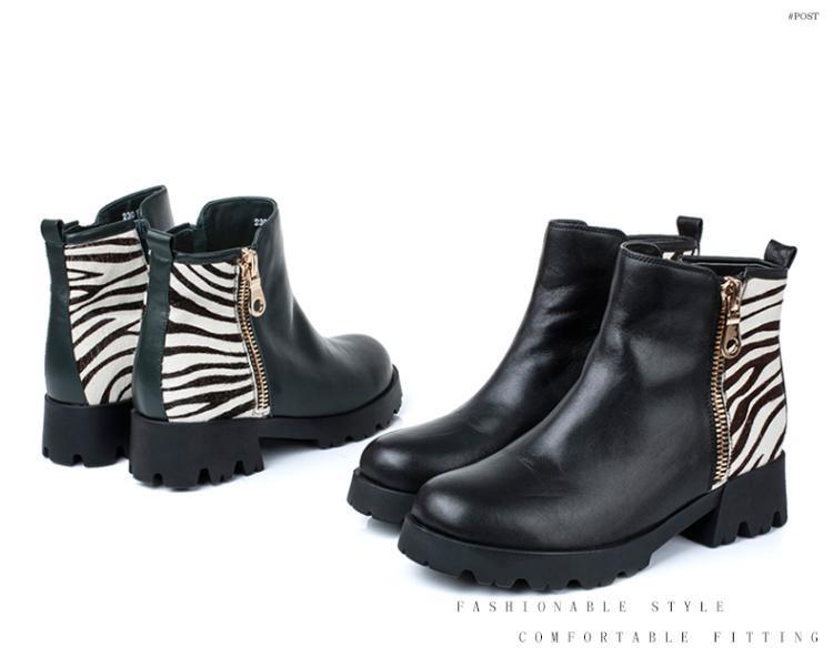森达senda女鞋专场 绿/白色牛皮马毛方跟女短靴图片