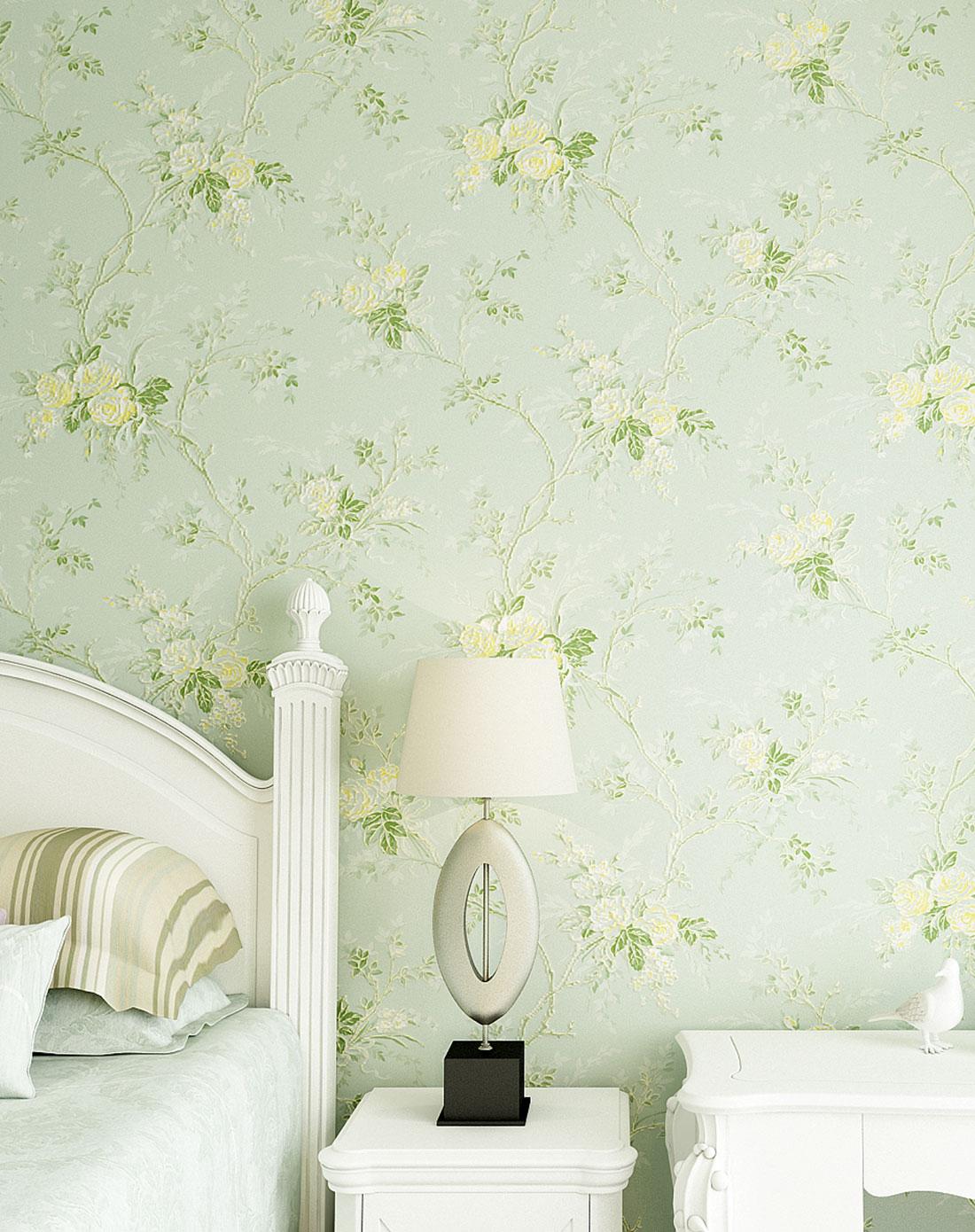 薄荷绿无纺珠光3d欧式田园墙纸图片
