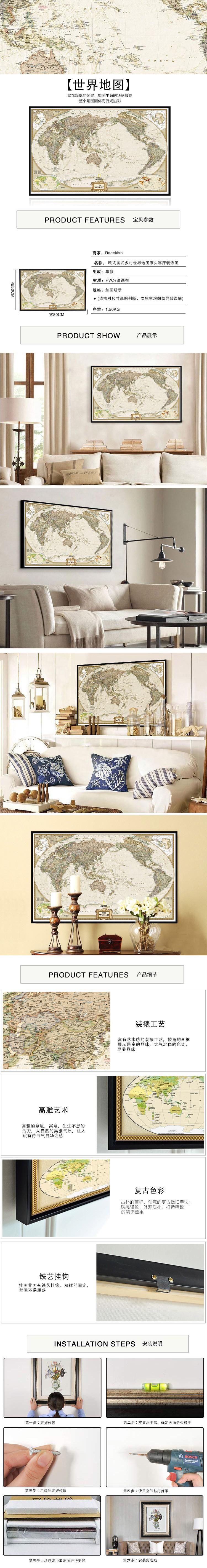 地图床头客厅装饰画rbj