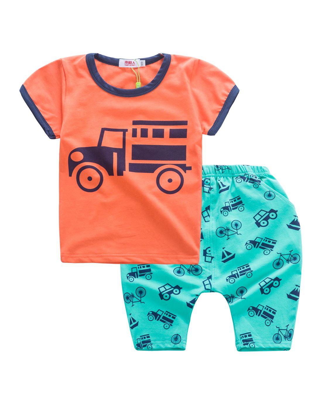 男童橘色卡通短袖套装