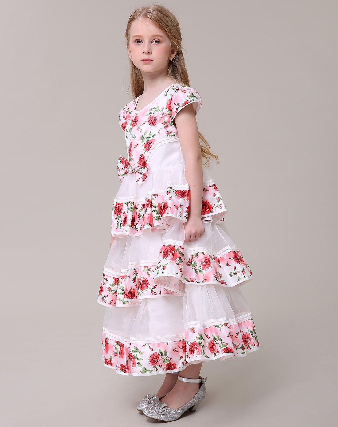 女童气质玫瑰花蛋糕裙