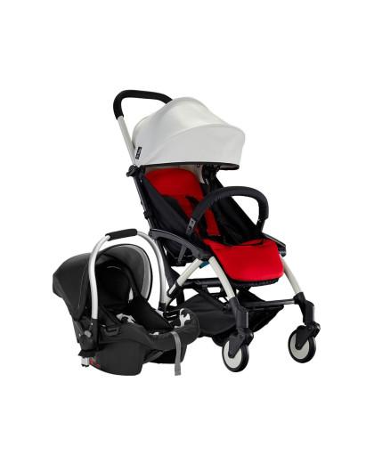 chbaby带安全提篮可上飞机皮质婴儿推车 旗舰白色