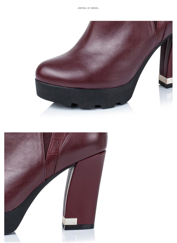 森达senda女鞋专场 黑色牛皮粗跟女短靴图片