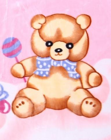 婴儿粉色两只小熊毛毯