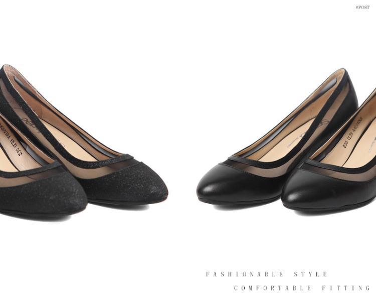 森达senda女鞋专场 森达春季专柜同款时尚优雅牛皮/织物粗跟浅口女单图片