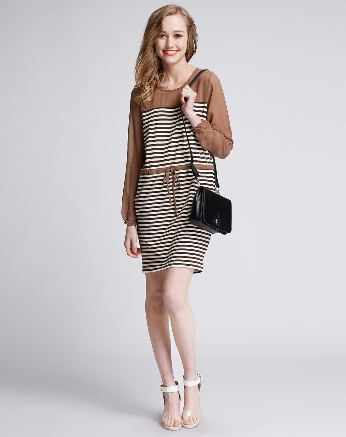 女装咖啡色条纹拼接连衣裙