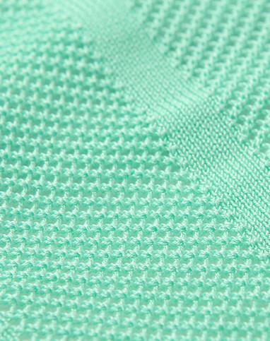 浅绿小清新糖果色网格雪纺拼接针织衫