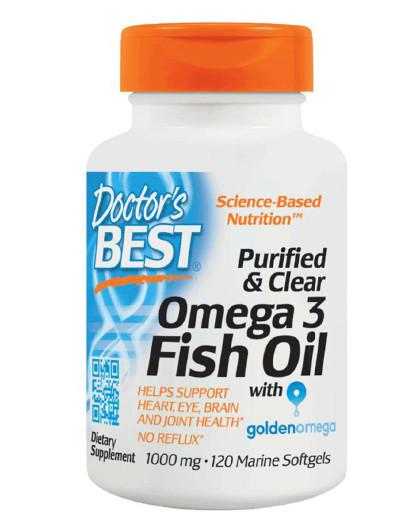 DOCTOR'S BEST 【心脑血管健康】美国Doctor's Best纯净透明Omega-3深海鱼油胶囊120粒