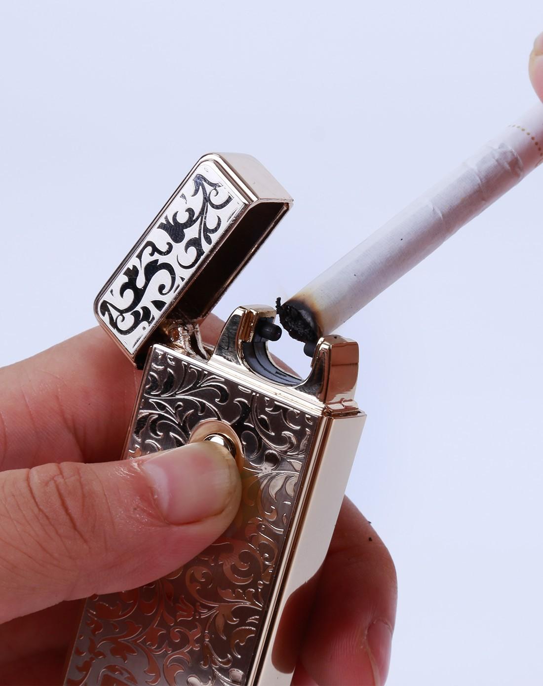 创意花纹充电式电弧打火机-金色