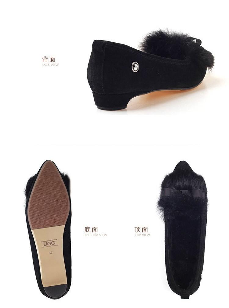 ozwear daisy 时尚尖头兔毛蝴蝶结 豆豆鞋