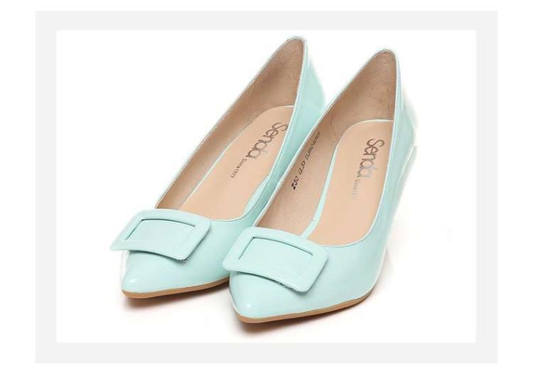 森达senda森达春季专柜同款时尚甜美牛皮细跟浅口女鞋图片
