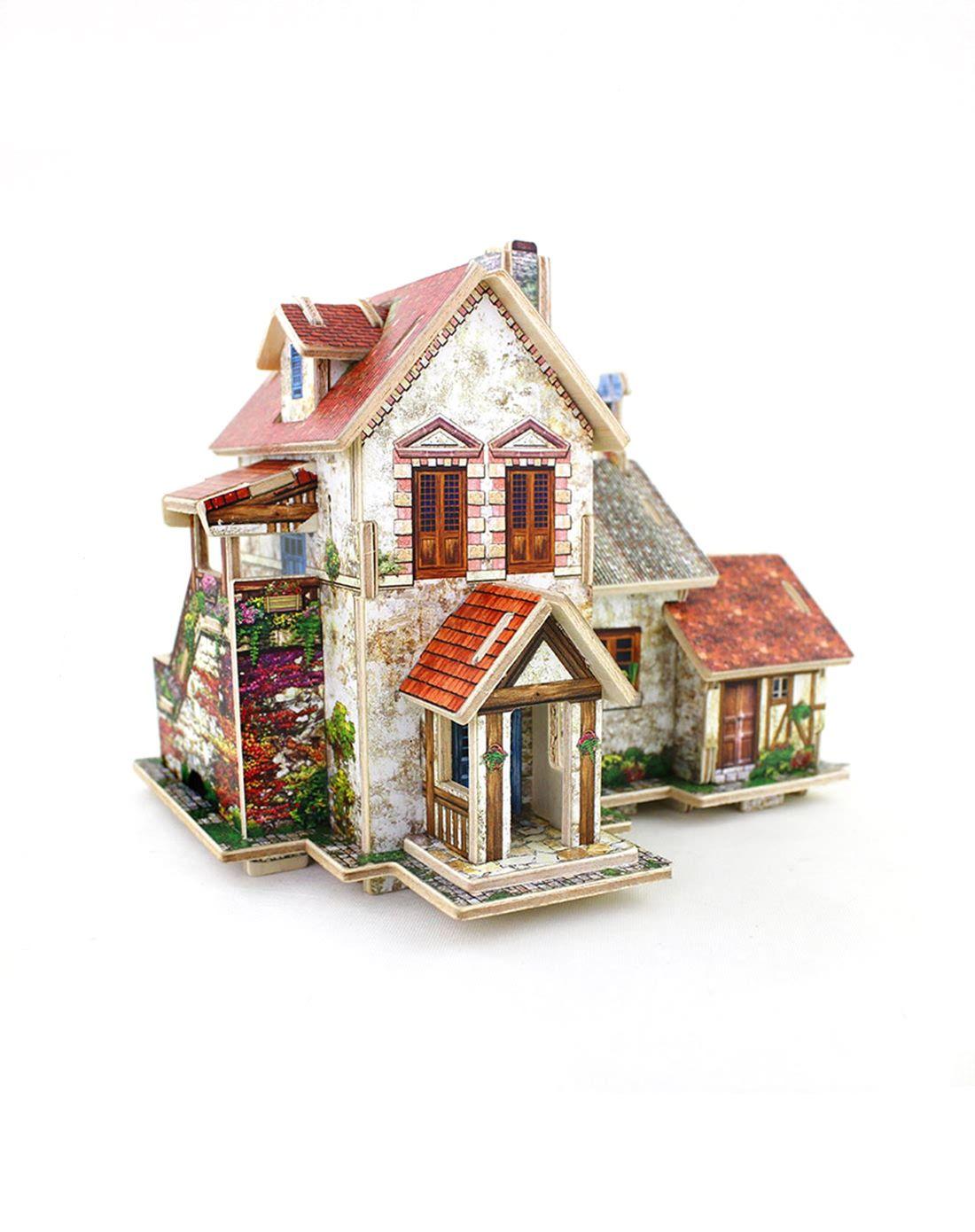 (法国农庄)3d立体拼图木质模型小屋