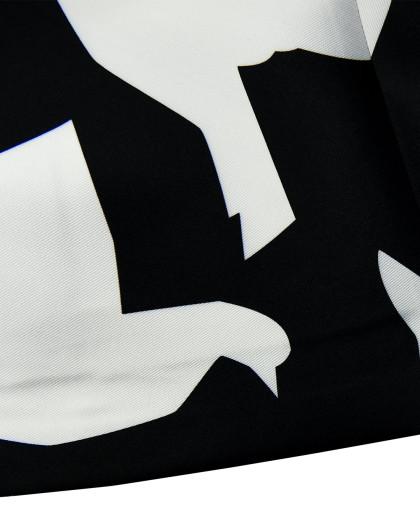 黑白千纸鹤连衣裙黑白印花