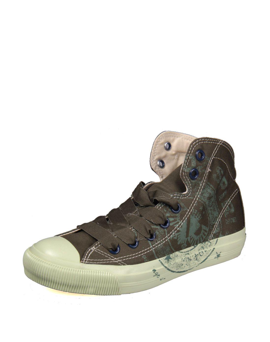男款绿色潮流复古印章洗水帆布鞋
