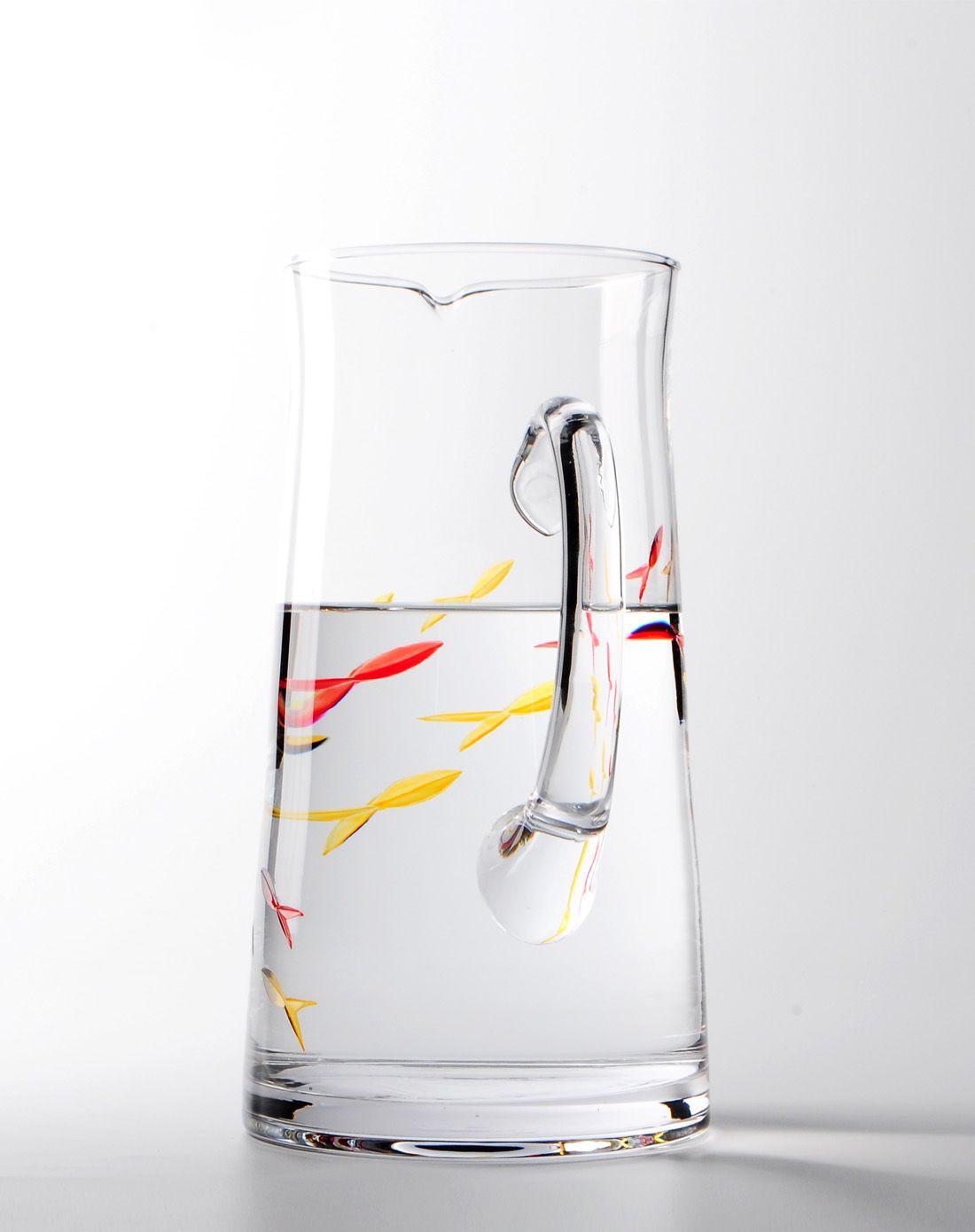纯手工雕刻创意小鱼玻璃水壶2l
