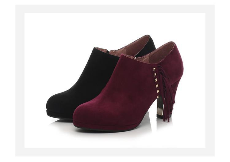 森达senda女鞋专场 森达春季专柜同款时尚休闲羊皮粗跟女高跟鞋黑色图片