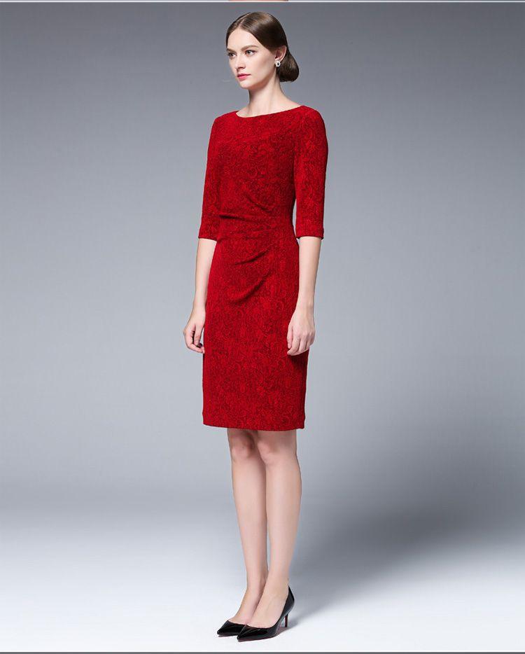 女装红色针织提花修身连衣裙