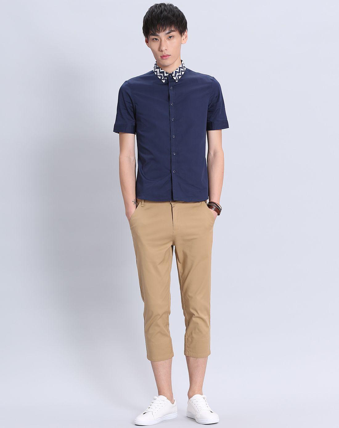 藏蓝色男装领子手绘图案衬衫