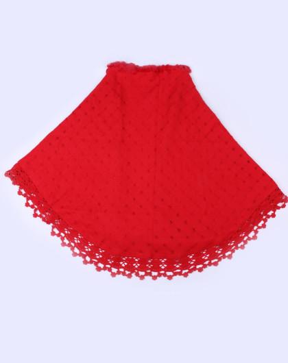 女红色加獭兔皮缩绒钩花三角披肩