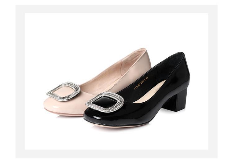森达senda女鞋专场-夏出清 森达春季时尚牛皮粗跟女浅口鞋黑色  鞋帮图片