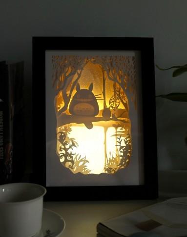 (龙猫)立体风景纸雕装饰画小夜灯