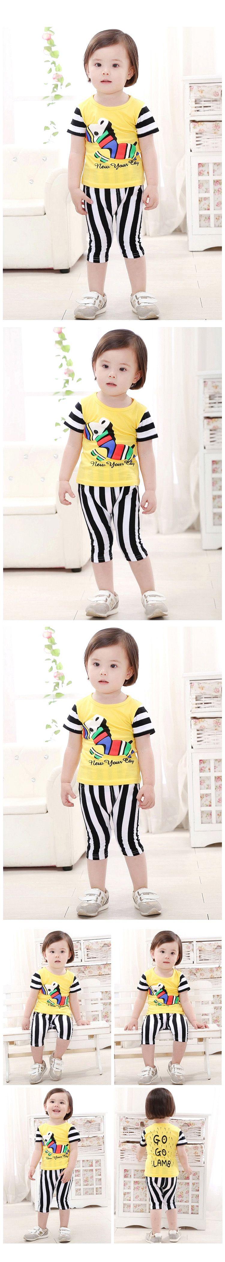 儿童可爱小马图案韩版套装