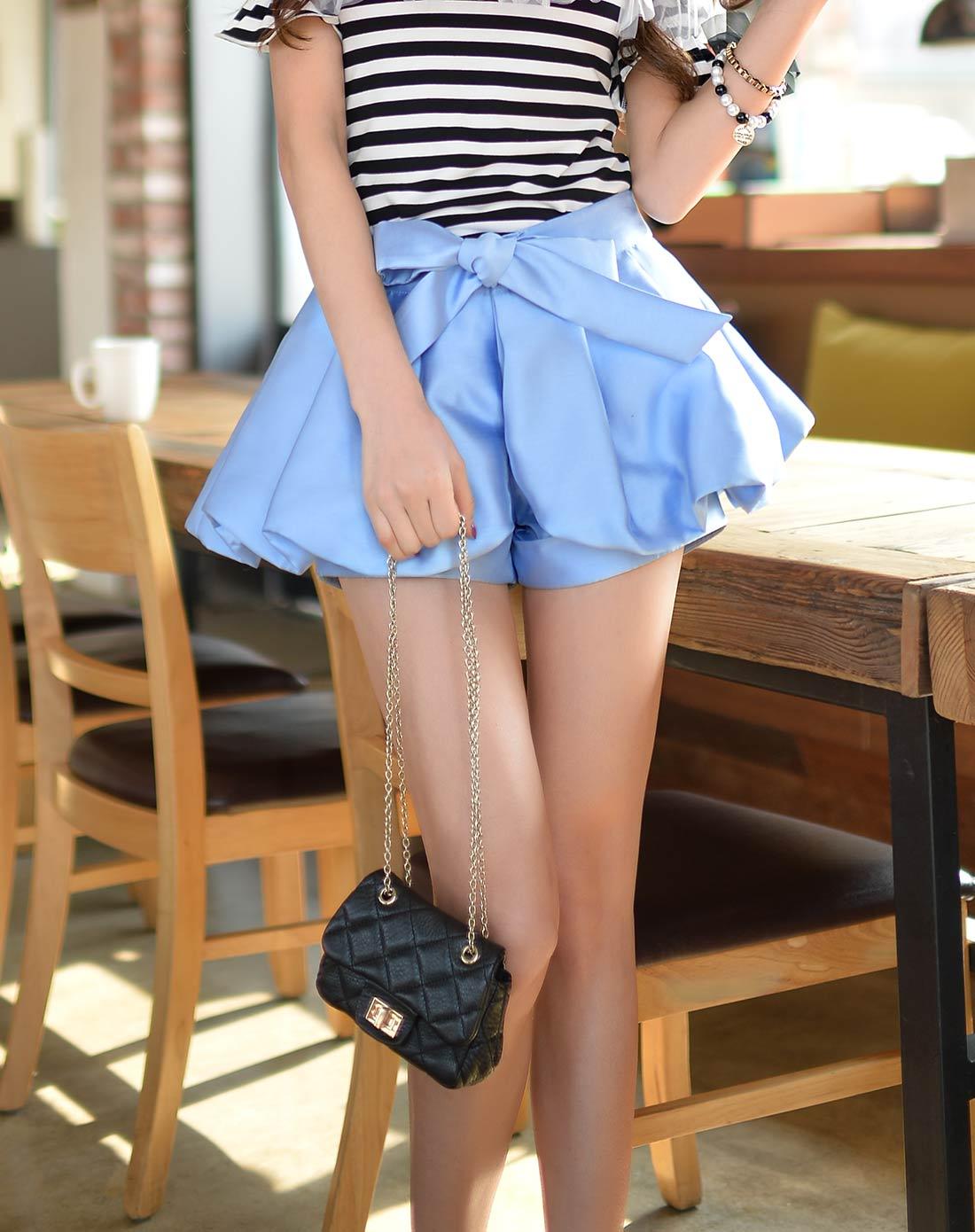 浅蓝色系蝴蝶结裙裤
