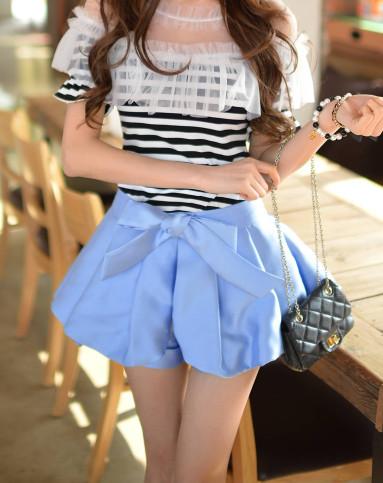 (特惠)浅蓝色系蝴蝶结裙裤