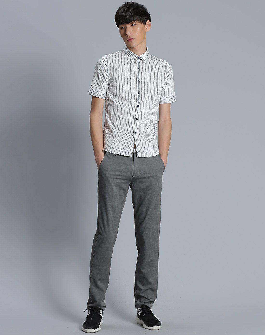 漂白男装手绘线条衬衫